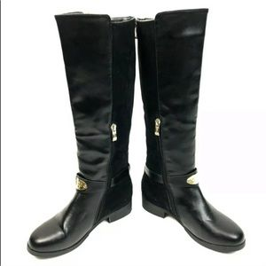 Guess Black Leather Sued Riding Knee High Boot 5.5